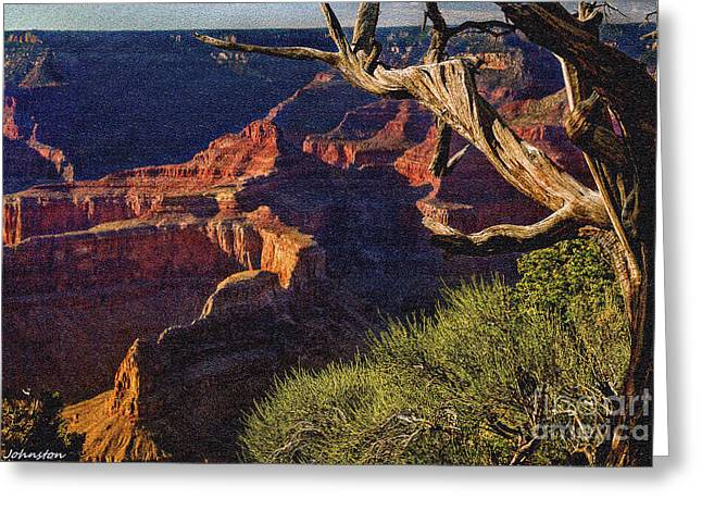 Desertview Greeting Cards - Hermit Rest Grand Canyon National Park Greeting Card by  Bob and Nadine Johnston