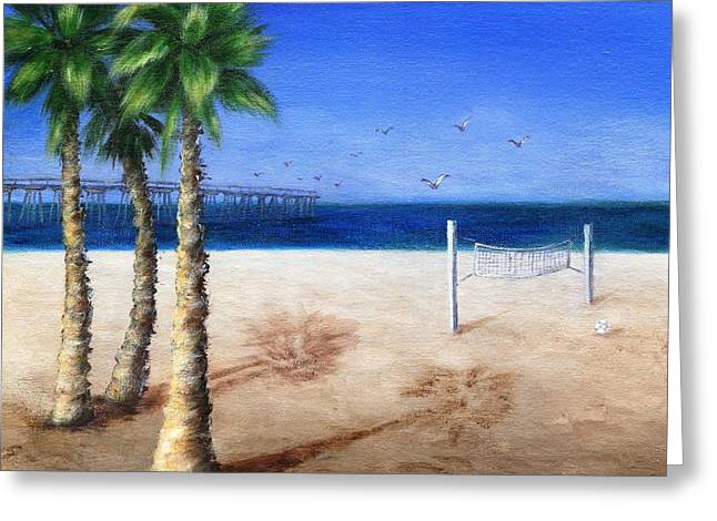 Recently Sold -  - Seabirds Greeting Cards - Hermosa Beach Pier Greeting Card by Jamie Frier
