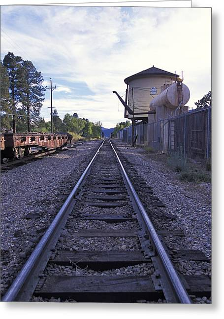 """""""rail Siding"""" Greeting Cards - Hermosa siding and water tower Greeting Card by Duncan Mackie"""