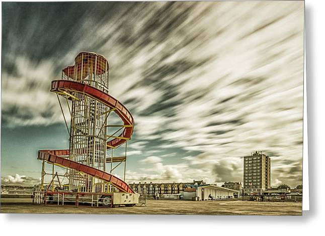 Amusements Greeting Cards - Herne Bay - Helter Skelter Greeting Card by Ian Hufton