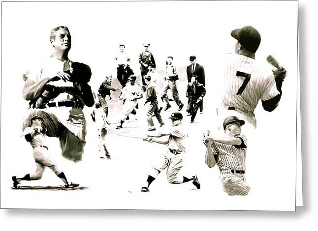 Athletes Drawings Greeting Cards - Hero For The Ages Mickey Mantle Greeting Card by Iconic Images Art Gallery David Pucciarelli