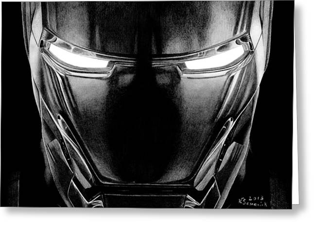 Iron Drawings Greeting Cards - Hero in Shining Iron Greeting Card by Kayleigh Semeniuk