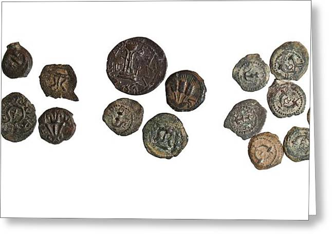 Coins Greeting Cards - Herod the Great bronze coins Greeting Card by Science Photo Library