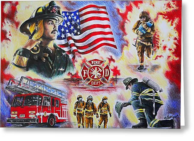 All American Drawings Greeting Cards - Heroes collection American Firefighter Greeting Card by Andrew Read