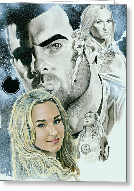 Tim Mixed Media Greeting Cards - Heroes Hayden Panettiere Greeting Card by Ken Branch