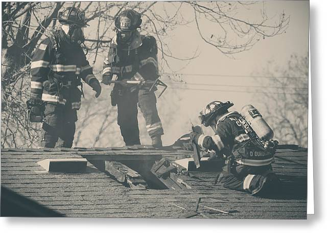 Rooftop Photographs Greeting Cards - Heroes Greeting Card by Laurie Search