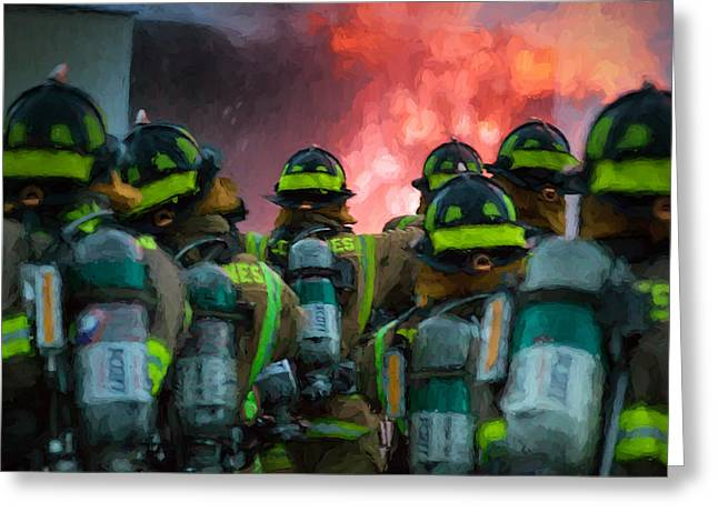 Fireman Boots Greeting Cards - Heroes March to Devils Doorway- firefighters Greeting Card by Henry Inhofer