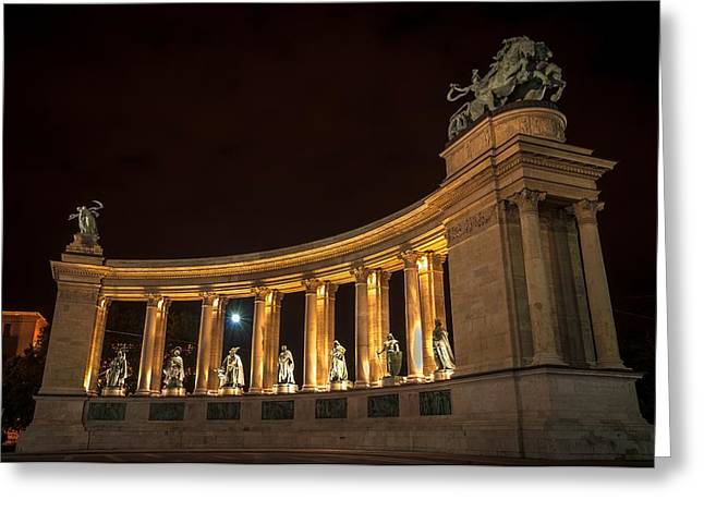 Many Pyrography Greeting Cards - Heroes square in Hungary at night Greeting Card by Oliver Sved