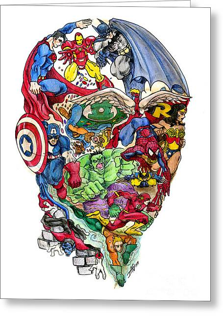 Surrealism Mixed Media Greeting Cards - Heroic Mind Greeting Card by John Ashton Golden