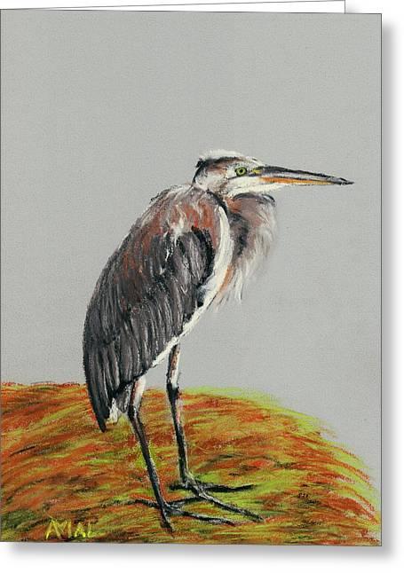 Great Pastels Greeting Cards - Heron Greeting Card by Anastasiya Malakhova