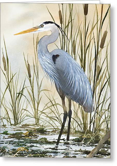 Wildlife Art Prints Greeting Cards - Heron and Cattails Greeting Card by James Williamson