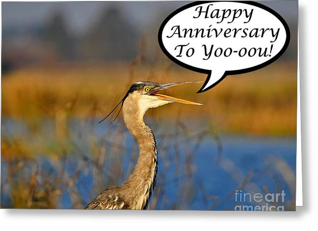 Gray Heron Greeting Cards - Heron Anniversary Card Greeting Card by Al Powell Photography USA