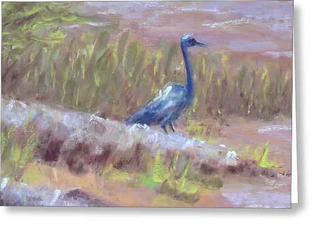 Jordan Paintings Greeting Cards - Heron at Lake Jordan detail Greeting Card by Pamela Poole