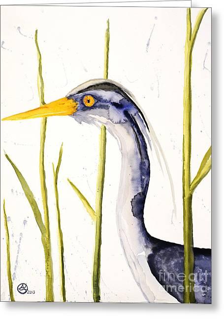 Santa Cruz Paintings Greeting Cards - Heron in the Reeds Greeting Card by Alexandra  Sanders