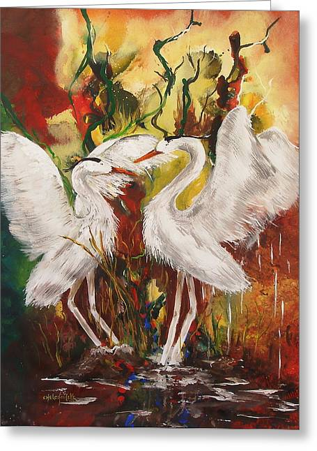Fluttering Paintings Greeting Cards - Heron Meeting Greeting Card by Miroslaw  Chelchowski