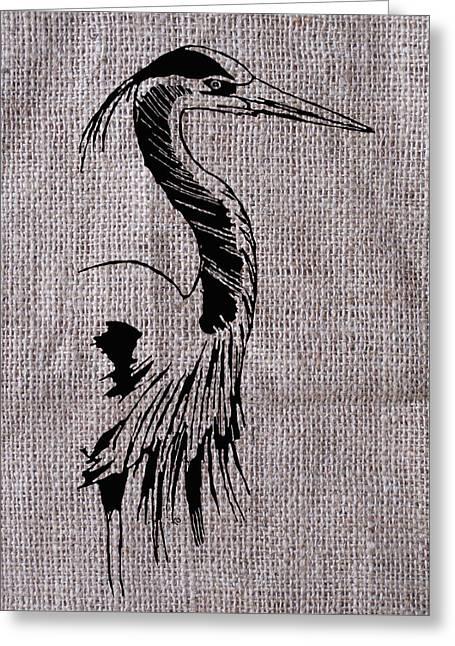 Heron Drawings Greeting Cards - Heron on burlap Greeting Card by Konni Jensen