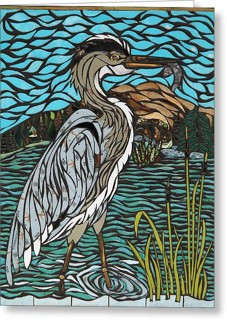 Heron On Connor Creek Greeting Card by Mary Ellen Bowers