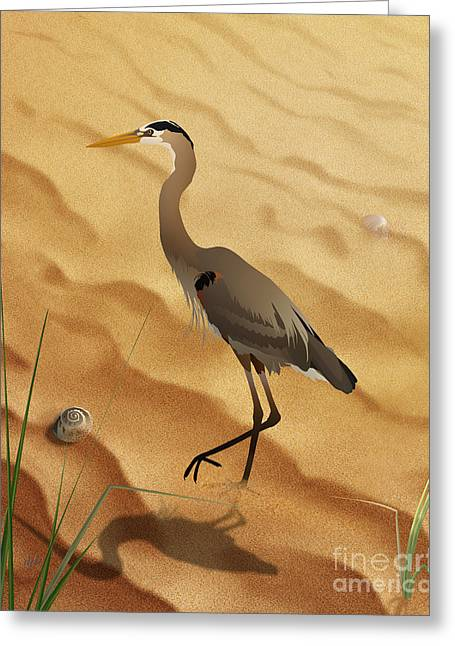 Heron On Golden Sands Greeting Card by Bedros Awak
