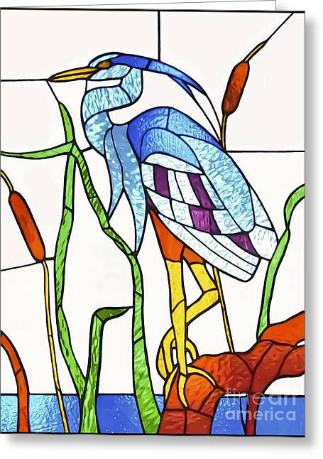 Glass Greeting Cards - Heron  Greeting Card by Walt Foegelle