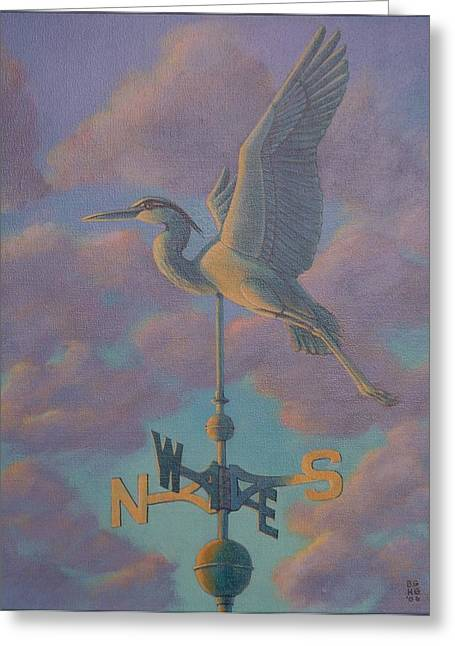 Heron Weather Vane Greeting Card by Bonnie Golden