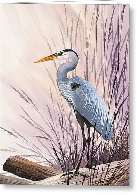 Heron Driftwood Print Greeting Cards - Herons Driftwood Home Greeting Card by James Williamson