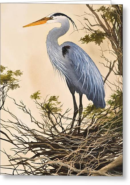 Wildlife Framed Prints Greeting Cards - Herons Secluded Home Greeting Card by James Williamson