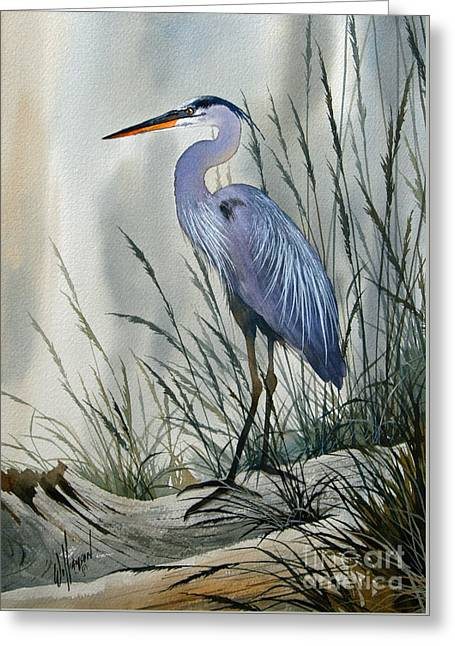 Wildlife Art Acrylic Prints Greeting Cards - Herons Sheltered Retreat Greeting Card by James Williamson