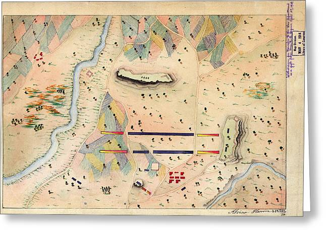 Antique Greeting Cards - Herreras Map of a Mexican War Campaign 1848 Greeting Card by MotionAge Designs