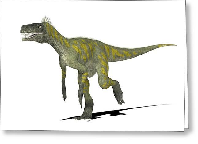 Herrerasaurus Dinosaur Greeting Card by Friedrich Saurer
