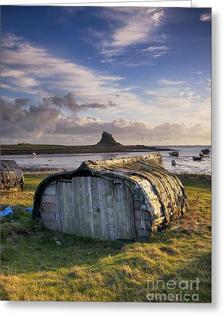 Fishermans Island Greeting Cards - Herring boat hut Lindisfarne HDR Greeting Card by Tim Gainey