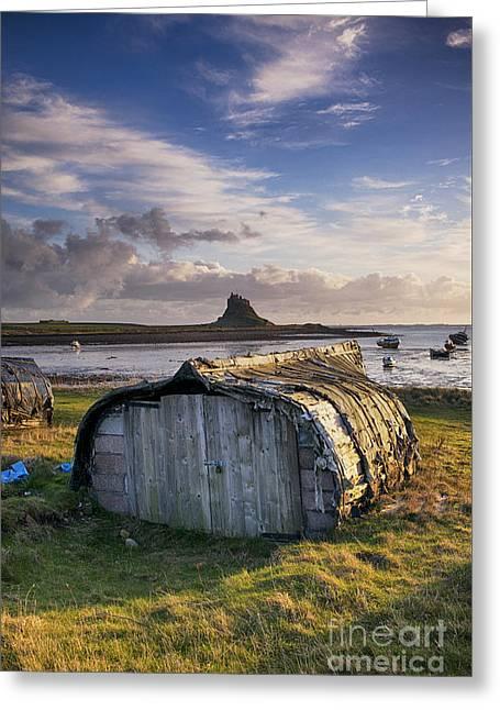 Herring Boat Hut Lindisfarne Hdr Greeting Card by Tim Gainey