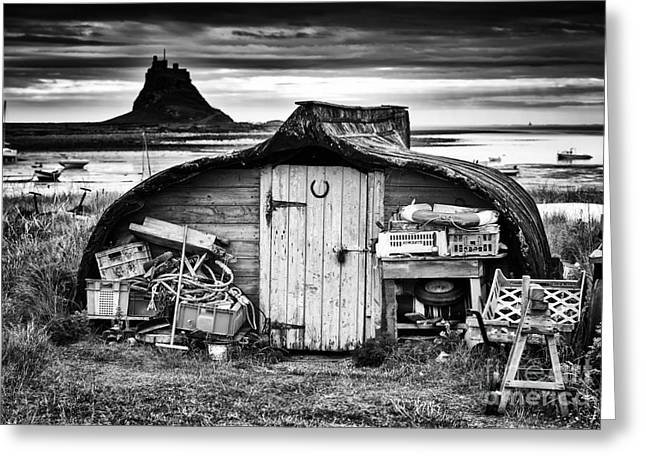 Boat-shed Greeting Cards - Herring boat hut Lindisfarne Monochrome Greeting Card by Tim Gainey