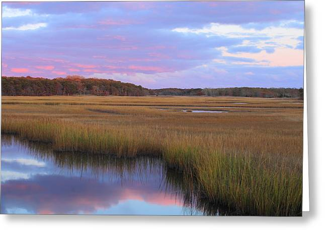 Harwich Greeting Cards - Herring River Marsh Cape Cod Autumn Sunset Greeting Card by John Burk