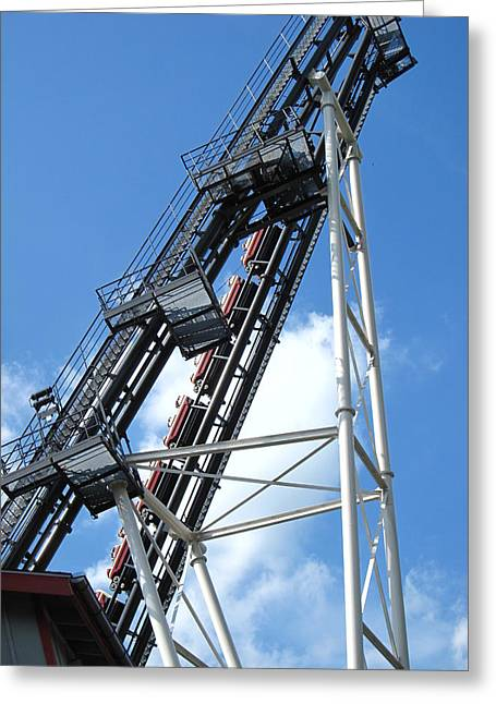 Side Greeting Cards - Hershey Park - Sidewinder Roller Coaster - 12121 Greeting Card by DC Photographer