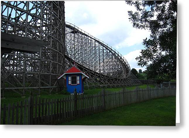 Wildcat Greeting Cards - Hershey Park - Wildcat Roller Coaster - 12121 Greeting Card by DC Photographer
