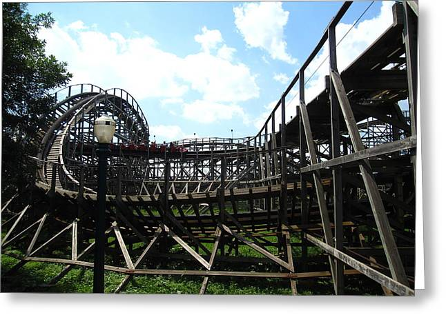 Wildcat Greeting Cards - Hershey Park - Wildcat Roller Coaster - 12123 Greeting Card by DC Photographer