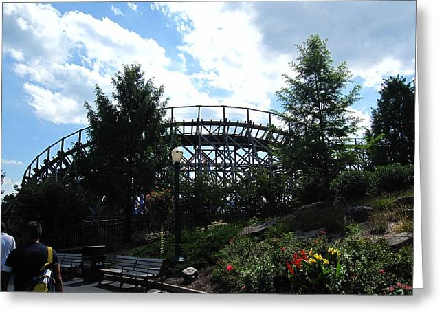 Wildcat Greeting Cards - Hershey Park - Wildcat Roller Coaster - 12124 Greeting Card by DC Photographer