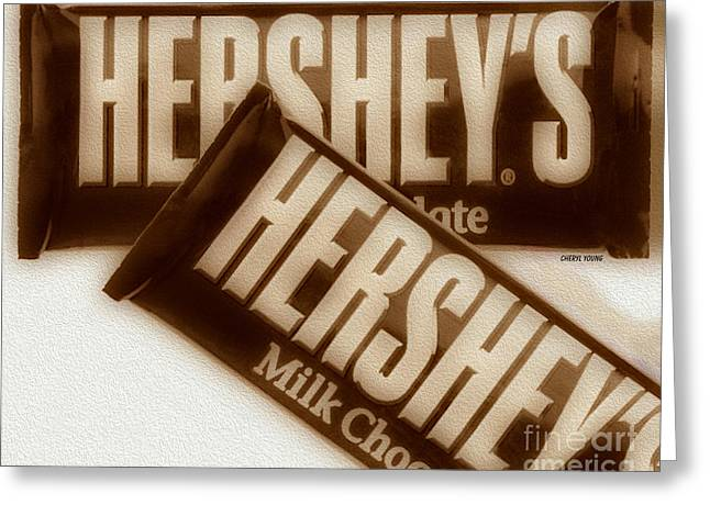 American Food Greeting Cards - Hersheys Greeting Card by Cheryl Young