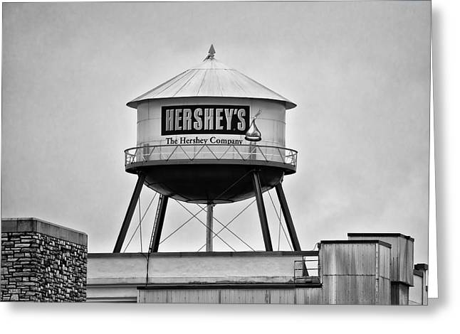 Hershey Greeting Cards - Hersheys Water Tower in Black and White Greeting Card by Bill Cannon