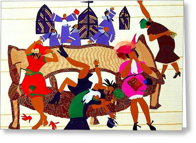 Woman Tapestries - Textiles Greeting Cards - Hes Done it All Greeting Card by Ruth Yvonne Ash