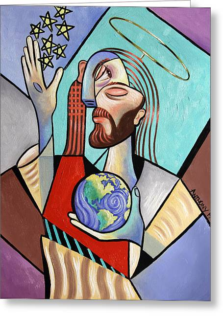 Expressionist Greeting Cards - Hes Got The Whole World In His Hand Greeting Card by Anthony Falbo