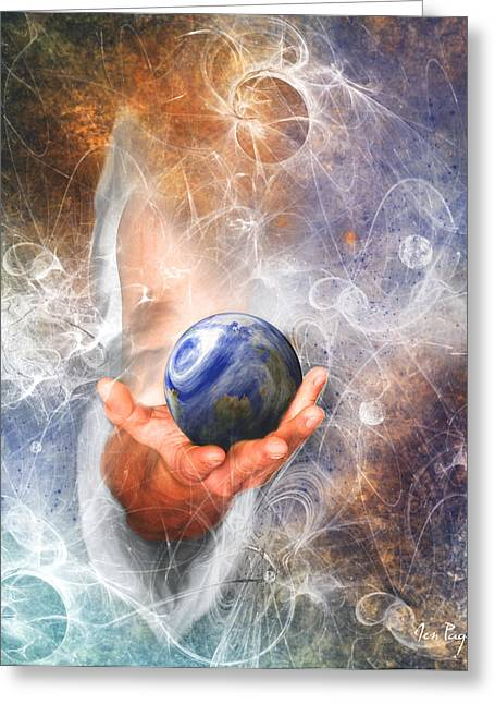 Jennifer Page Greeting Cards - Hes Got the Whole World in His Hand Greeting Card by Jennifer Page