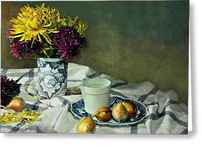 Table Top Still Life Greeting Cards - Shy Mums Greeting Card by Diana Angstadt