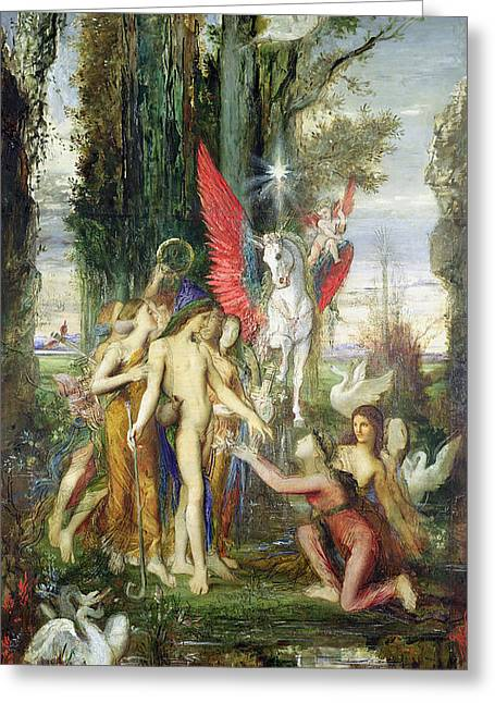 Gustave Moreau Greeting Cards - Hesiod and the Muses Greeting Card by Gustave Moreau