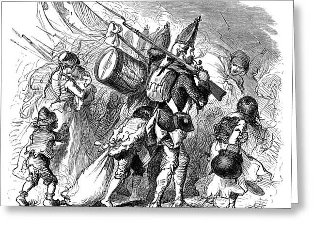 Bayonet Greeting Cards - HESSIAN MERCENARIES, 1770s Greeting Card by Granger