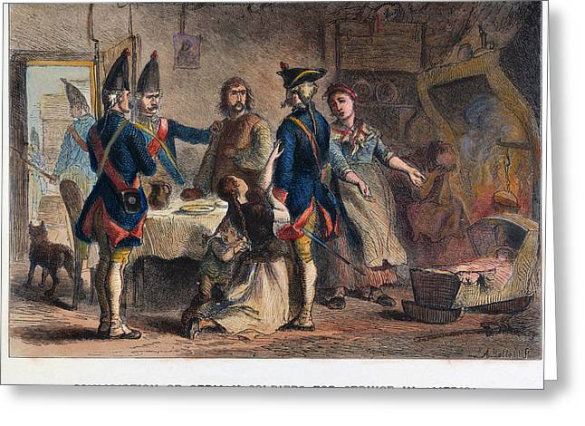 1770s Greeting Cards - Hessians: Conscription Greeting Card by Granger