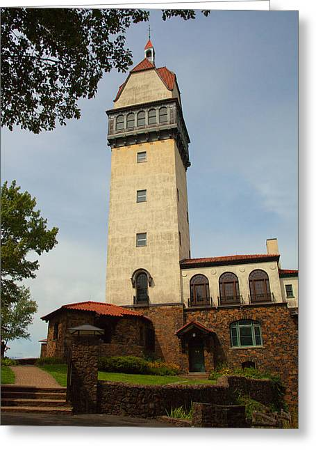 State Park; Mountains Greeting Cards - Heublein Tower Greeting Card by Karol  Livote