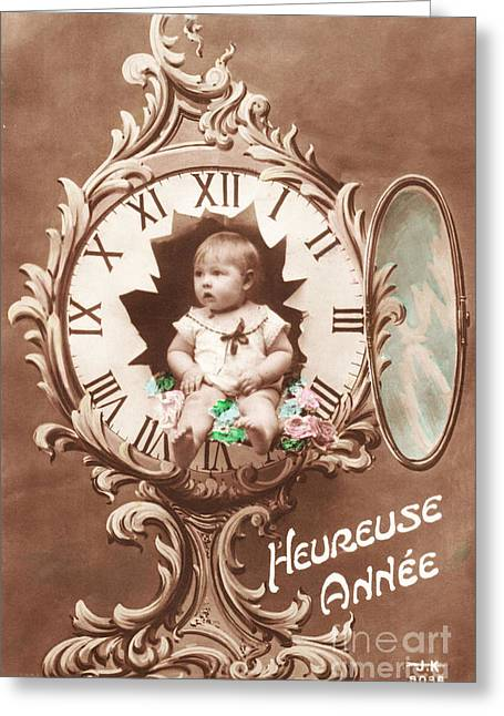 Cards Vintage Greeting Cards - Heureuse annee vintage baby Greeting Card by Delphimages Photo Creations