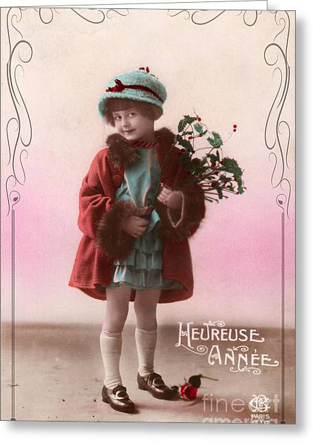 Heureuse Annee Vintage Girl Greeting Card by Delphimages Photo Creations