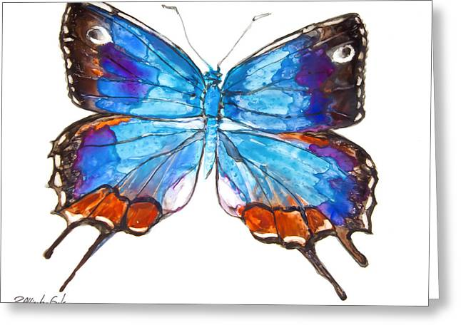 Yupo Paper Greeting Cards - Hewitsons Blue Hairstreak Butterfly Greeting Card by Patricia Allingham Carlson